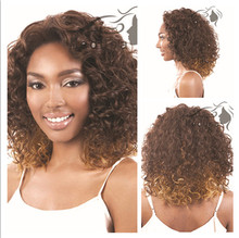 1PC Synhetic Afro Kinky Curly Wig Short Curly Wigs For African American Black Women Curl Kanekalon Fiber Natural U Part Wig