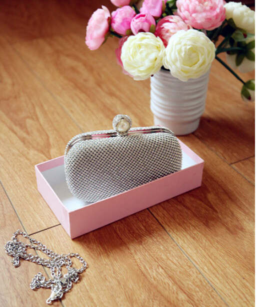 full luxury diamond evening bags cheap women clutch pearl clasp hard case silver clutches purse handbags - YIWU Global Trade store