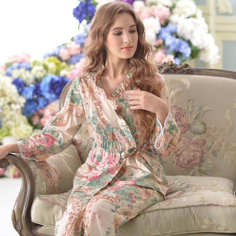 2015 new arrival women summer pajamas 100% woven cotton long-sleeve pajama sleepwear pajama pajamas for women set(China (Mainland))