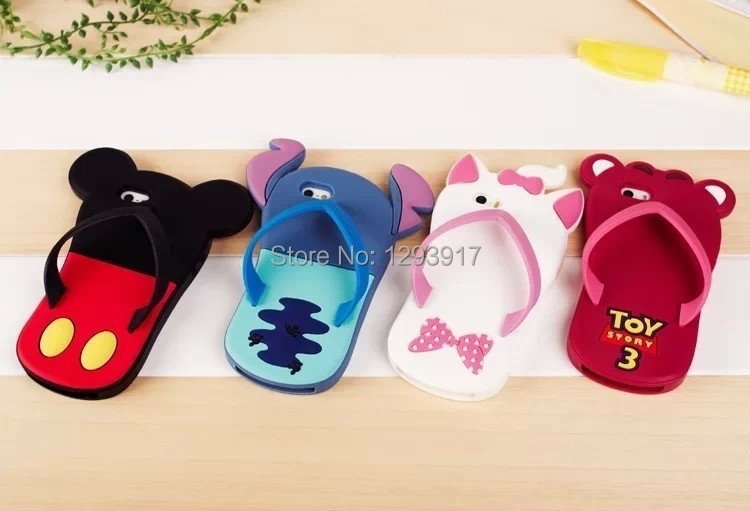 Hot Selling 2015 Lovely Cartoon Silicone Slippers Mobile Phone Case Cover Iphone4/5s - Moon Group Super Market store