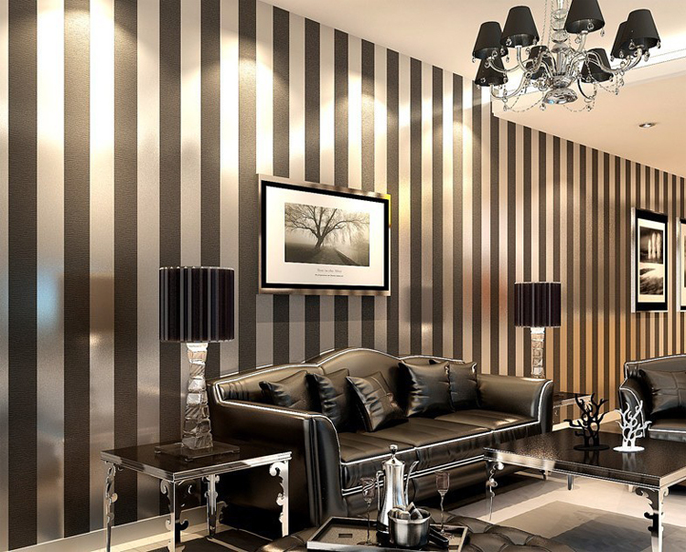 modern black wallpaper striped purple and silver glitter wall paper