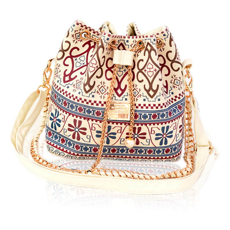 2015 Hot Selling Women Chains Pearl Bucket Bag Canvas Shoulder Bags Models Messenger Bag Wind Flower Women's Handbag Bolsas(China (Mainland))