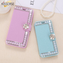 Buy KISSCASE iPhone 6 6s 7 Plus Case Pearl Silk Leather Girly Wallet Bag Cover Bling Rhinestone Flip Case iPhone 7 6 6s 5 for $3.99 in AliExpress store