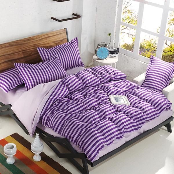 2015 NEW Hot!!! Free Shipping 19 Types Princess Purple Bed Sets Summer Style Strip 4PCS Bedding Set Luxury Home & Hotel Textile(China (Mainland))