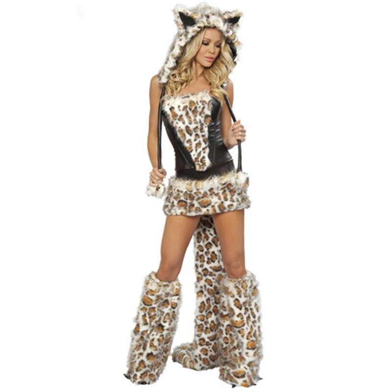 New Style Women Leopard Animal Plus Size Wolf Sexy Dress Halloween Costume