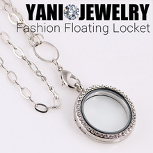 10pcs/lot Free Shipping Mix Colors 30mm Round Magnetic Glass Floating Charm Locket With Rhinestones (chains included for free)