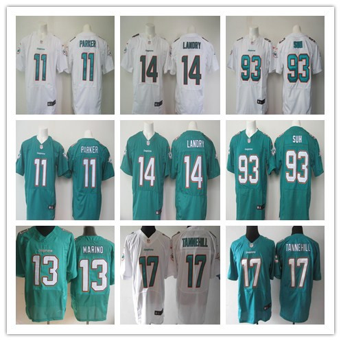2016 elite Men Miami Dolphins, #14 Jarvis Landry #13 Dan Marino #17 Ryan Tannehill 93 Ndamukong Suh, wake 100% stitched logo(China (Mainland))