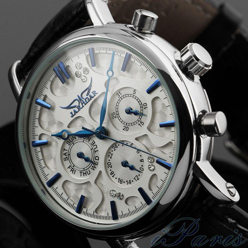 New Luxury Brand JARAGAR Fashion Watches Men Crystal 6 Hands Auto Mechanical Men s Watch With