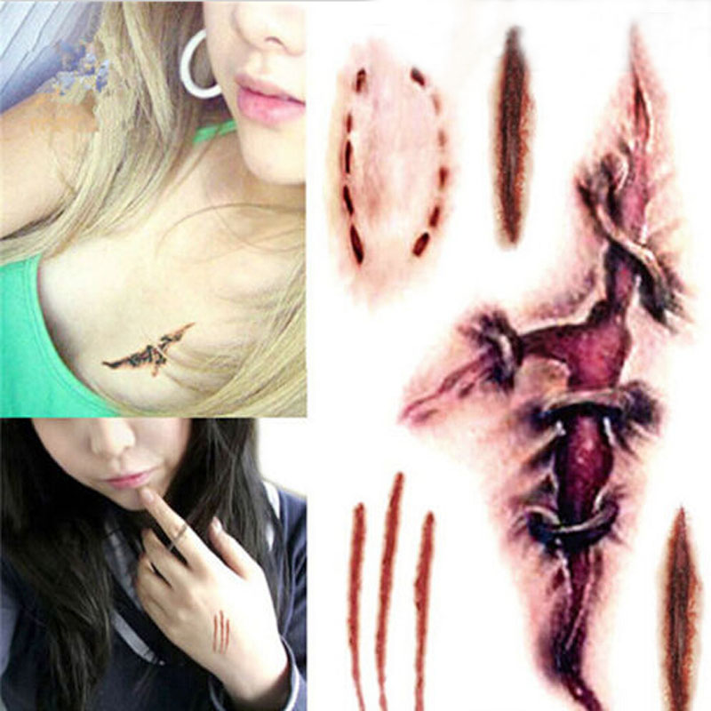 Free Shipping New Arrival Wound Scab Blood Glue Simulation Temporary Tattoos Sticker Body Sticker(China (Mainland))