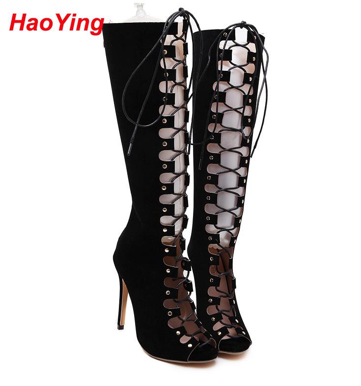 Summer long boots Sandals knee high boots Gladiator Sandals high heels shoes women pumps lace up thigh high boots black D291