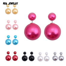 5 pairs/lot Wholesale Fashion Pearl Stud Earrings Jewelry Candy Colors 16MM Ball Double Side Earrings for Women Shinning Pusety(China (Mainland))
