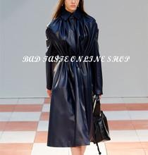 Luxury Brand Designer Pleated Lambskin Trench Coat Women's Black/Burgundy Red Sheepskin Leather Elestic Waist Belted Trenchcoat(China (Mainland))
