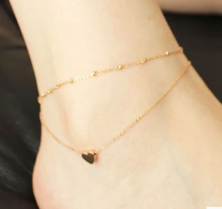Free Shipping Crazy Feng New Fashion Foot Jewelry 18K Gold Plated Heart Anklets Trendy Gift for Women Girl High Quality(China (Mainland))