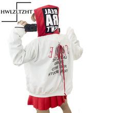 2017 Harajuku College Student Bomber Jacket Women Letter Printed Hooded windbreak Coats Loosen Jacket Oversize Coats female(China (Mainland))