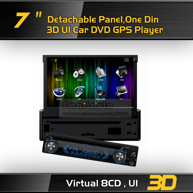 Big discount,3D UI,Up-down and left-right reversal ,7'' Single Din Detachable panel Car DVD GPS with iPod BT AM FM(Model:830)(China (Mainland))