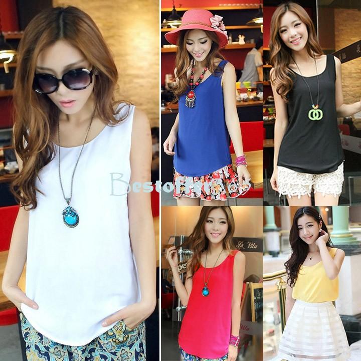 3 SIZES M/L/XL Hot 2014 Fashion Women Chiffon Sleeveless Shirt Vest Tank Blouse Waistcoat Drop Shipping 36(China (Mainland))