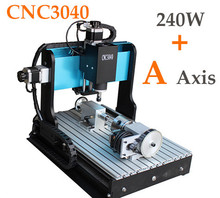 Brand New 4 Axis CNC 3040 Router engraving machine 240W spindle motor Milling Drilling Cutting Machine(China (Mainland))