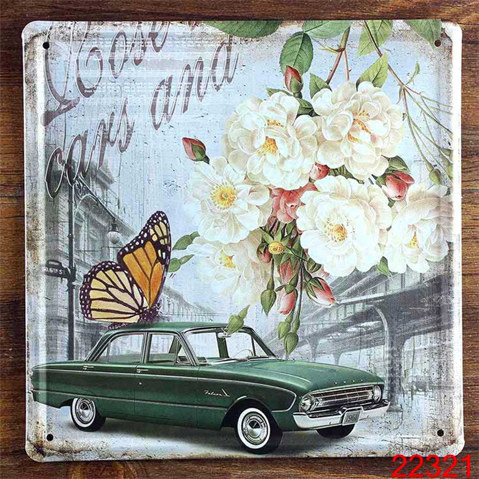 20X20cm HD0988 Cars And Flowers Butterflies Retro Metal Sign Wall art decor Hotel House Bar Vintage Tin Signs(China (Mainland))