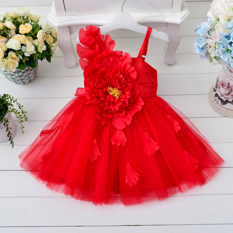 Wholesale high quality Single shoulder strap flower dress with pure cotton inside  girl party dress with petal 6pcs/1lot T305<br><br>Aliexpress