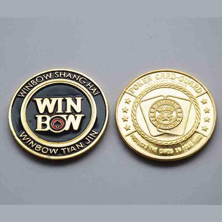 Wonderful Chinese Winbow Shanghai&Tianjing Poker Card Guard Casino Coin Low Price Gold Replica Coin For Club(China (Mainland))