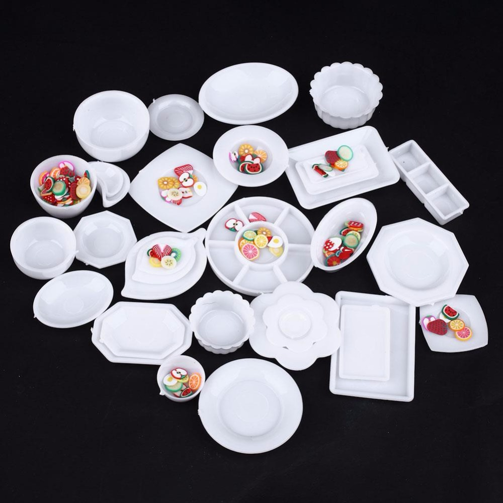33pcs/Set Doll Accessories Kitchen Mini Tableware Miniatures Cup Plate Dish Decor Toys for Kids Girls(China (Mainland))