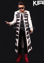 2016 men's new clothes exclusive bigbang Super long black white totem Trench coat, men nightclubs bars costumes Dress S-XXL(China (Mainland))