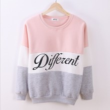 2015 Autumn and winter women fleeve hoodies printed letters Different women's casual sweatshirt hoody sudaderas(China (Mainland))
