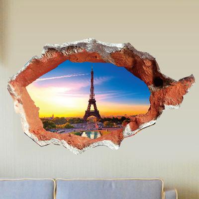 Через кирпич в париж эйфелева башня стены стикера детская комната декор на стены домашнего съемный обои декор