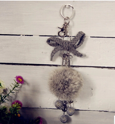 100/100 Genuine Mink Fur Ball Keychain Crochet Tassel Pendant Car pendant Crystal Bow Keychain CM-10(China (Mainland))