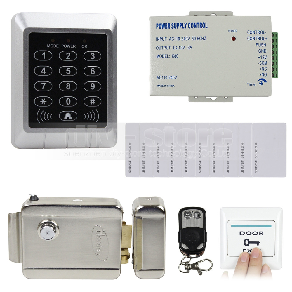 Diy Rfid 125KHz Card Reader Keypad Door Access Control System Kit + 10 Free ID Cards for Office / Home Improvement KS157(China (Mainland))