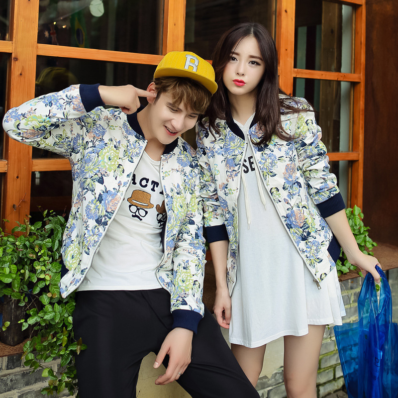 Cool Couple Jackets 2015 Sping And Autumn Brand Mens Flower Jacket Fashion College Baseball Jacet Coat Casaco Masculino XXL(China (Mainland))