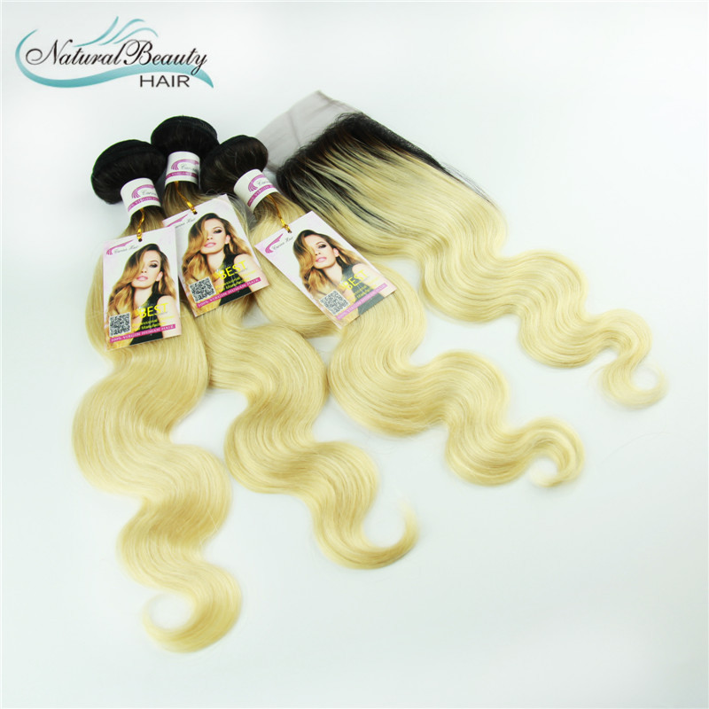 7A Grade Brazilian Virgin Hair with Closure 3pcs ombre blond hair dark roots bleached blond hair can be dyed(China (Mainland))