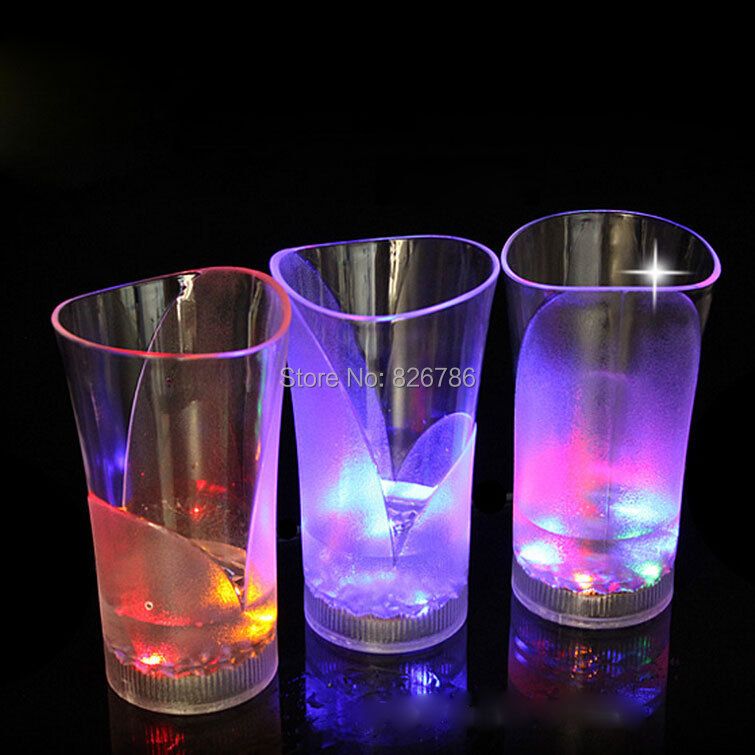 1pcs Lighting up with water cups LED mugs wineglass Water induction flash cup vase glass led cup wine glass for party(China (Mainland))