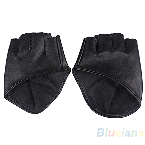 Fashion PU Half Finger Lady Leather Gloves women Lady s Fingerless Show Driving Gloves 042P