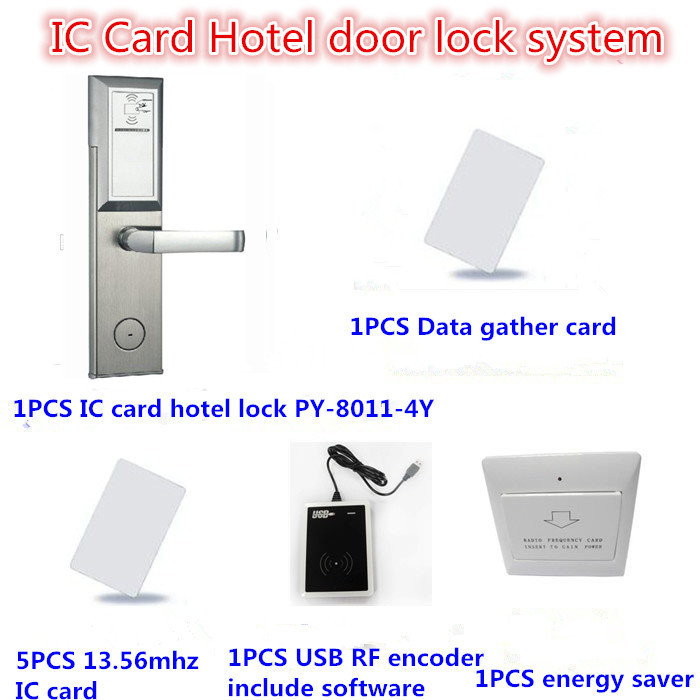 Smart IC card lock system Kit hotel door card lock system electronic door locks(Cards, lock, data gather, energy saver, encoder)(China (Mainland))