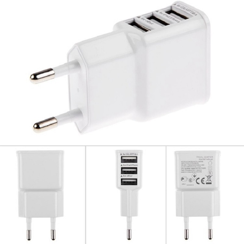 Wall Charger cable Adapter 2A 5V USB 3 Ports EU Plug for iPhone 4s 6 6s 5 5s HTC Samsung galaxy S5 S4 note 3 note4 mobile phone(China (Mainland))