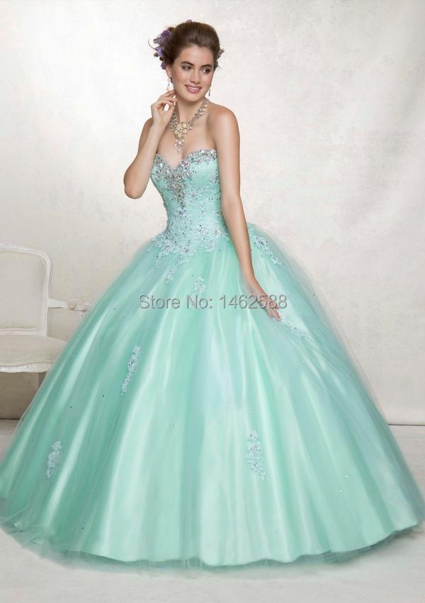 Quinceanera Dresses 2014 Mint Masquerade Ball Dresse...