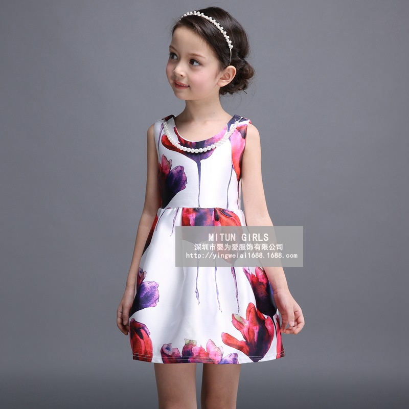 Retail 2016 New Arrival Summer Girl Dress Sleeveless Patterns Party Dresses Girls Baby Girl Boutique Clothing Robe Fille Enfant(China (Mainland))