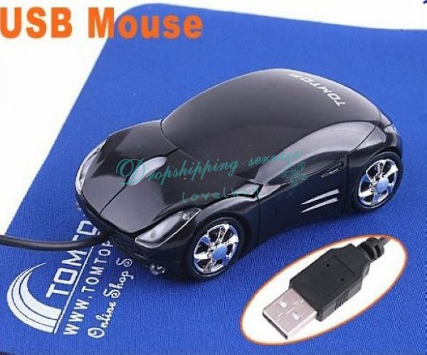Cool Car Shape Mini Wired 3D USB Optical Mouse Black Drop Shipping/Free Shipping Wholesale(China (Mainland))