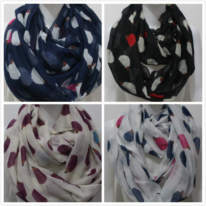 Free Shipping 2015 New Fashion Spring Latest Cute Hedgehog Animal Print Infinity Scarves For Gift(China (Mainland))