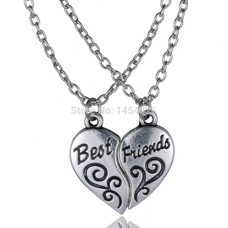 2015 Fashion jewelry long necklace best friend heart to heart silver pendant necklaces for women vogue