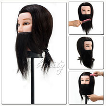 100% Real Human Hair Beard Hairdressing Training Man Head Mannequin Doll High Temperature Fiber Salon Model With Clamp(China (Mainland))