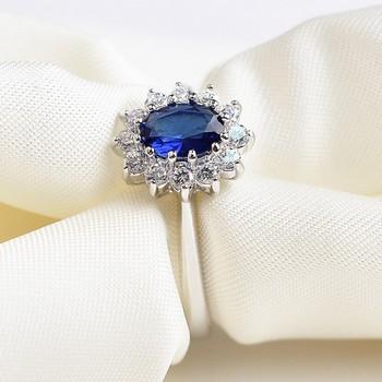 Italina марка принцесса сапфир ювелирные изделия обручальные кольца для женщин посеребренные ...