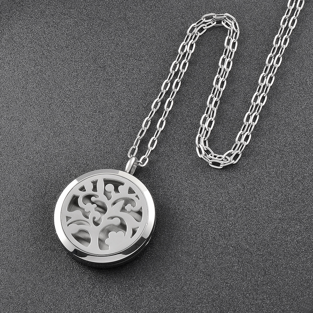 IJP0152 Eternal tree of life stainless steel Eau De Parfum Women Necklace Fashion Aromatherapy / Essential Oil Diffuser Necklace(China (Mainland))