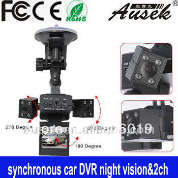 Robot sytle dual Lens car DVR two Lens scene video recorder 2.0 inch vehicle black box 1280 x 480 car camera - free shipping  D1