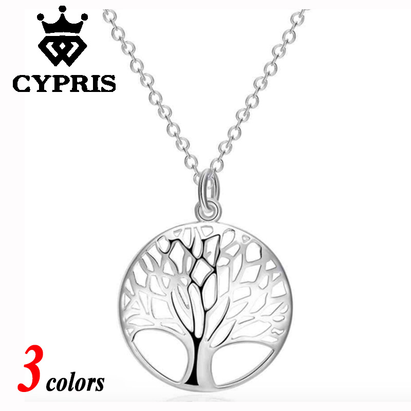 Hot 3 colors choice Rose gold yellow gold Silver Tree Of Life 20inch Pendant Necklace totem gift girl women wedding love 925(China (Mainland))
