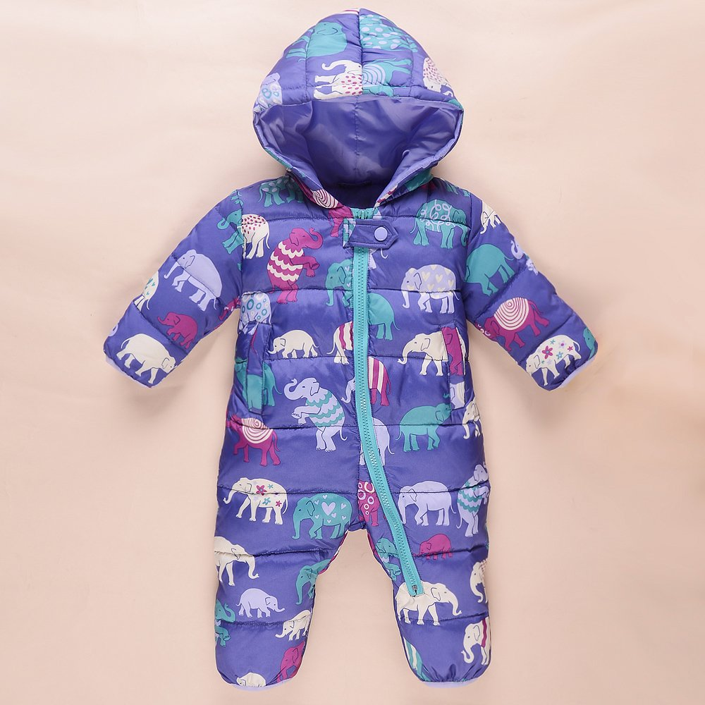 Baby boys winter Elephant print rompers baby clothes girls thick snowsuit coat kids outerwear jumpsuit children costume(China (Mainland))