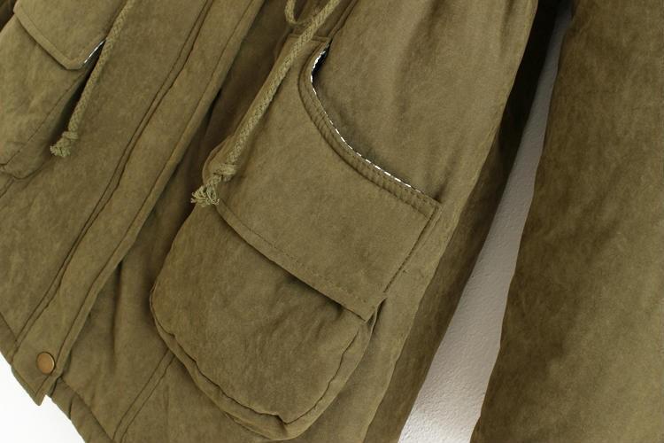 Скидки на Зимние Куртки Женщины 2016 мода Повседневная Тонкий с капюшоном Искусственный шерсть полиэстер военная плюс размер воротник верхняя одежда и пальто