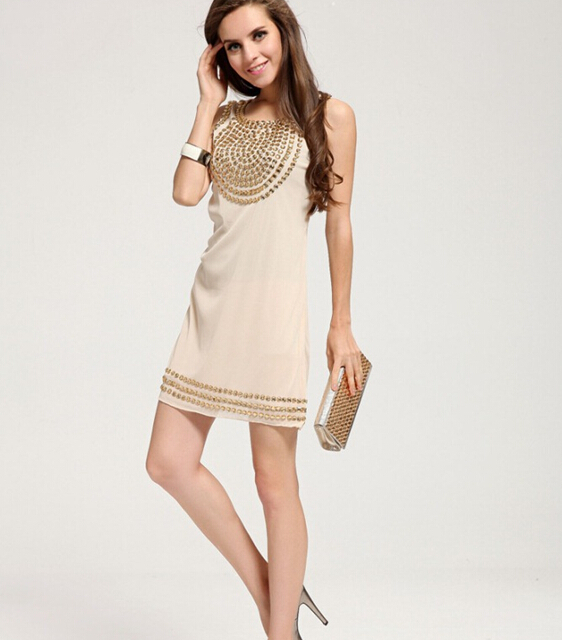 2014 New Elegance Loose Paillette Waistcoat Dress Fashion Slim Dress For Woman(China (Mainland))