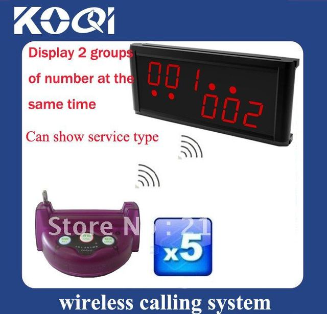 Hot sale Wireless Waiter Call System; Dispaly 2 groups of number at the same time ;Can show different service type